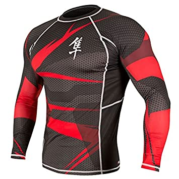 Hayabusa Metaru Long Sleeve Mens Rash Guard Black/Red
