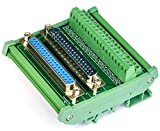 Electronics-Salon DB37 D-SUB DIN Rail Mount Interface Module, Male / Female, DSUB Breakout Board.