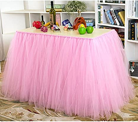 Haperlare 3ft Pink Tulle Table Skirt Queen Wonderland Pink Tablecloth Tutu  Tablecloth Skirting Tutu Table Skirt