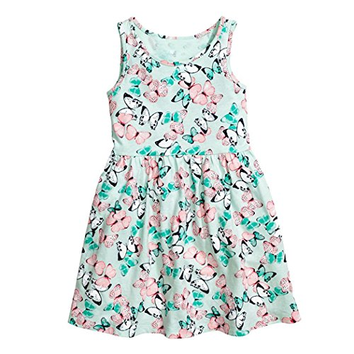 Little Maven Baby Girls Kids Clothes Summer Cotton Lovely Butterflies Print Dress S0229, S0229, 6 (Butterfly Clothes)