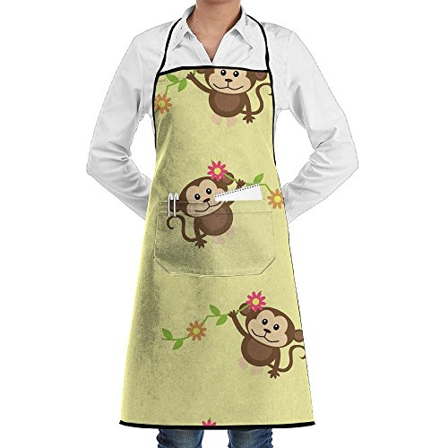Cute Monkey Sewing Aprons With Pocket Kits Adjustable Home Kitchen Apron