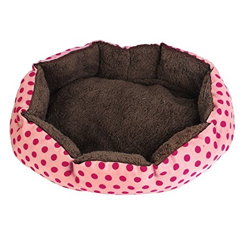 DealMux Indoor Warm So' Pet Dot Print Bed House Kennel Pad, Pink/Fuchsia