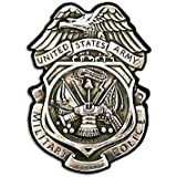 Silver US Army MP Military Police Badge Shaped Sticker (usmc decal)