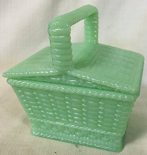 Picnic Basket Covered Candy Dish - American Made - Jade Jadeite Jadite Green Glass