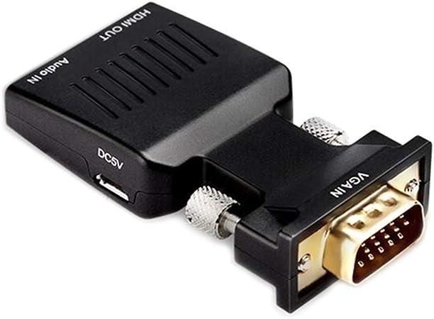 S-TROUBLE 1080P HD VGA Adaptador convertidor Macho a HDMI Hembra para PC Ordenador portátil Proyector portátil Monitor Accesorios Cable Digital: Amazon.es: Hogar