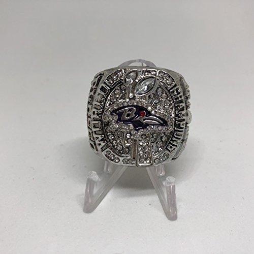 2012 MVP Joe Flacco Baltimore Ravens High Quality Replica 2012 Super Bowl XLVII Championship Ring Size 11-Silver Colored US SHIPPING (Baltimore Ring Super Ravens Bowl)