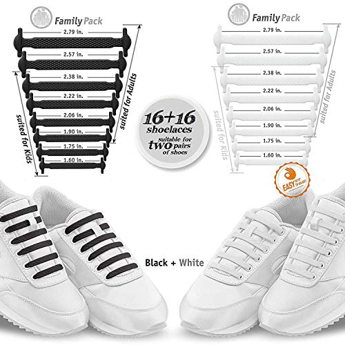 Elastic No Tie Shoelaces, Best No Tie Laces for Adult and Kids, Running, Climbing, Durable for Sneakers and Boots (Black & White)