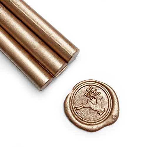 UNIQOOO Mailable Glue Gun Sealing Wax Sticks for Wax Seal Stamp - Metallic Champagne Gold, Great for Wedding Invitations, Cards Envelopes, Snail Mails, Wine Packages, Gift Ideas, Pack of 8 ()