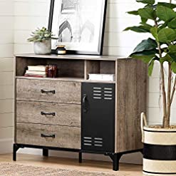 Kitchen South Shore Valet 3-Drawer Buffet-Weathered Oak and Matte Black modern buffet sideboards