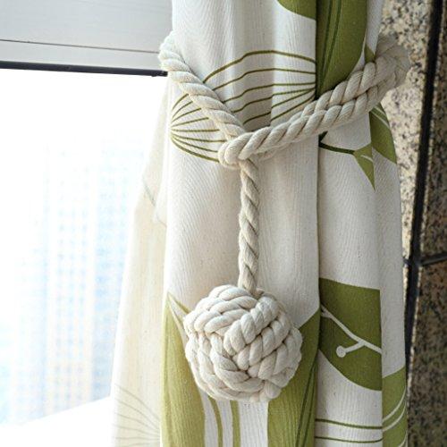 BTSKY 2 Pieces Curtain Rope Holdbacks- Decorative Hand-Knitted Cotton Tiebacks (Beige)