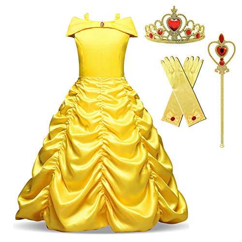 Princess Belle Costume Girls Halloween Party Carnival Dress Size 140,6-7 Years,Yellow