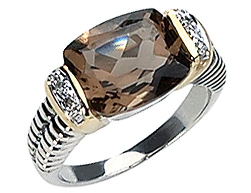 Smokey Quartz & Diamond 2.31Carat (ctw) Ring in Sterling Silver with 14K Gold Accents