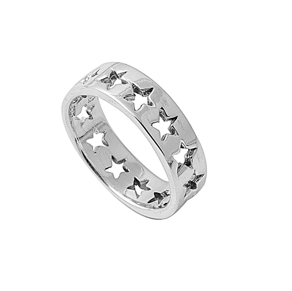 925 Sterling Silver Star Stencil Ring Size 7