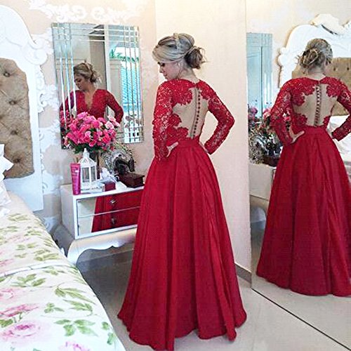 568b6f46ac02 MEILISAY Women s Deep V-Neck Beaded Prom Dress Lace Evening Formal Dress  with Long Sleeves at Amazon Women s Clothing store