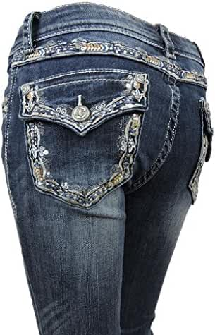Grace L.A. Idol Women Bootcut Jeans Aztec Paisley Cowgirl Back Pocket Stretch Med Blue