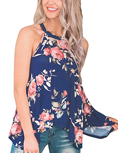 DDSOL Women Tops and Blouses Floral Halter Tops Sleeveless Summer Blouse Blue