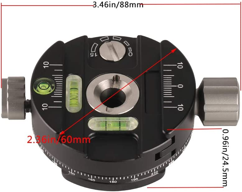 Panoramic Tripod Head with Indexing Rotator Aluminum Alloy 360 Degree Camera Panning Base with Level Arca-Swiss Compatible for ARCA Ball Head Tripod Monopod Ballhead DSLR Cameras