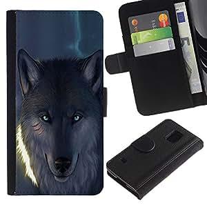 KingStore / Leather Etui en cuir / Samsung Galaxy S5 V SM-G900 / Blue Eye Resplandeciente lobo del hombre lobo
