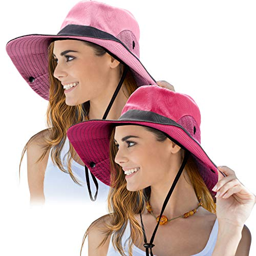 2 Pieces Women's Outdoor Sun Hat UV Protection Foldable Mesh Wide Brim Beach Fishing Cap (Watermelon Red, Pink)