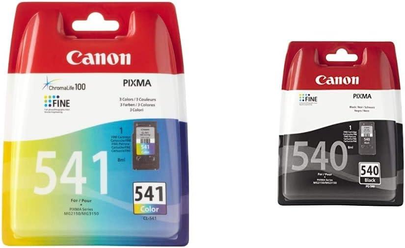 Canon CL-541 Cartucho de tinta original Tricolor para Impresora de Inyeccion de tinta Pixma + PG-540 Cartucho de tinta original Negro para Impresora de Inyeccion de tinta Pixma