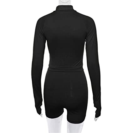 ccc9ce813abd Amazon.com  Womens Rompers Casual Long Sleeve Turtleneck Sexy V-Neck  Stretchy Bodycon Sports Yoga Jumpsuit Shorts Rompers Playsuits  Clothing