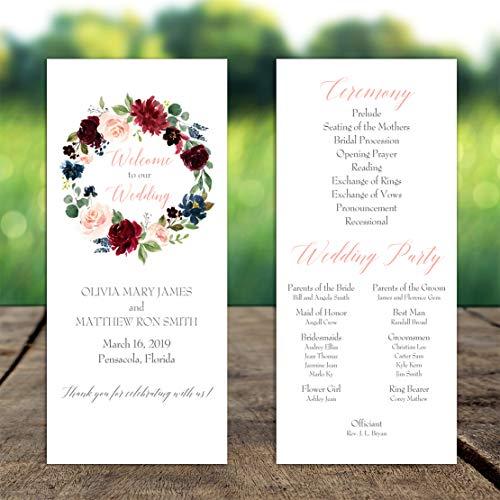 Wedding Program - Burgundy Floral Wreath with ANY Wording Printed