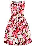 #10: ephex Little Girls Vintage Floral Print Swing Party Princess Red Dresses 2-11Y