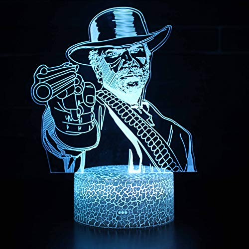 Price comparison product image Red Dead Redemption Night Light Baby 3D Mood Lamp RGB Changeable Lighting Base Acrylic Crafts for Birthday Holiday Christmas Party Decoration (Human with Gun)