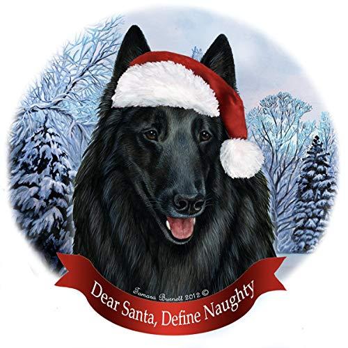 Holiday Pet Gifts Belgian Sheep Santa Hat Dog Porcelain Christmas Tree Ornament