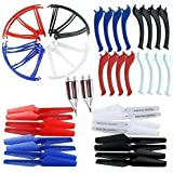 NICEKER Upgraded 4 Colors Syma X5SC X5SW Spare Parts Main Blade Propellers & Motor & Propeller Protectors Blades Frame & Landing Skid Included Mounting Screws for RC Mini Quadcopter Toy