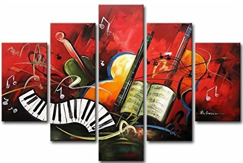 Ode-Rin Art Christmas Gift Hand Painted Oil Paintings Gift Musical Instruments 5 Panels Wood Inside Framed Hanging Wall Decoration