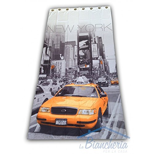 Rideau, style américain - Motif Taxi de New York - Dimensions : 140x 280 cm - Prêt à l'emploi Tex family