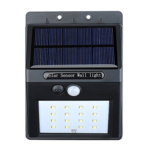 VicTec Solar Lights, Garden IP65 Waterproof Wireless Security Bright Motion Sensor Light for Outdoor Wall Yard Deck Auto On / Off (16 LED, 320Lumen)