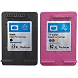 YDINK 2PACK ( 1Black & 1Tri-Color ) High Yield Remanufactured Ink Cartridge Replacement for HP 62XL HP62XL Use for ENVY 5643 ENVY 5642 ENVY 5660 ENVY 7640 OfficeJet 5740 OfficeJet 5745