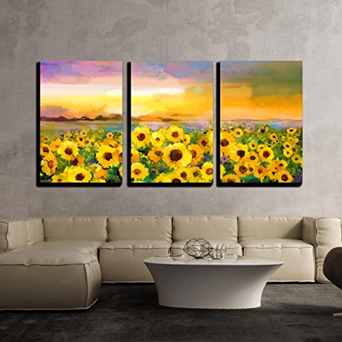 Sun Oil Painting - wall26 - 3 Piece Canvas Wall Art - Oil Painting Yellow- Golden Sunflower, Daisy Flowers in Fields. Sunset Meadow Landscape - Modern Home Decor Stretched and Framed Ready to Hang - 16