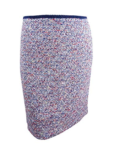 Tahari ASL Women's Boucle Pencil Skirt (18, Ivory/Slate/Coral)