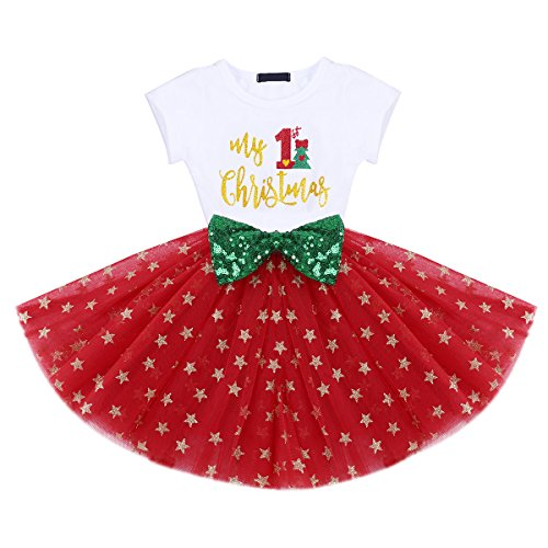 IBTOM CASTLE Baby Girls Newborn It's My 1st/2nd Birthday Cake Smash Shinny Printed Sequin Bow Tutu Princess Dress Christmas Green Tree 1 Years]()