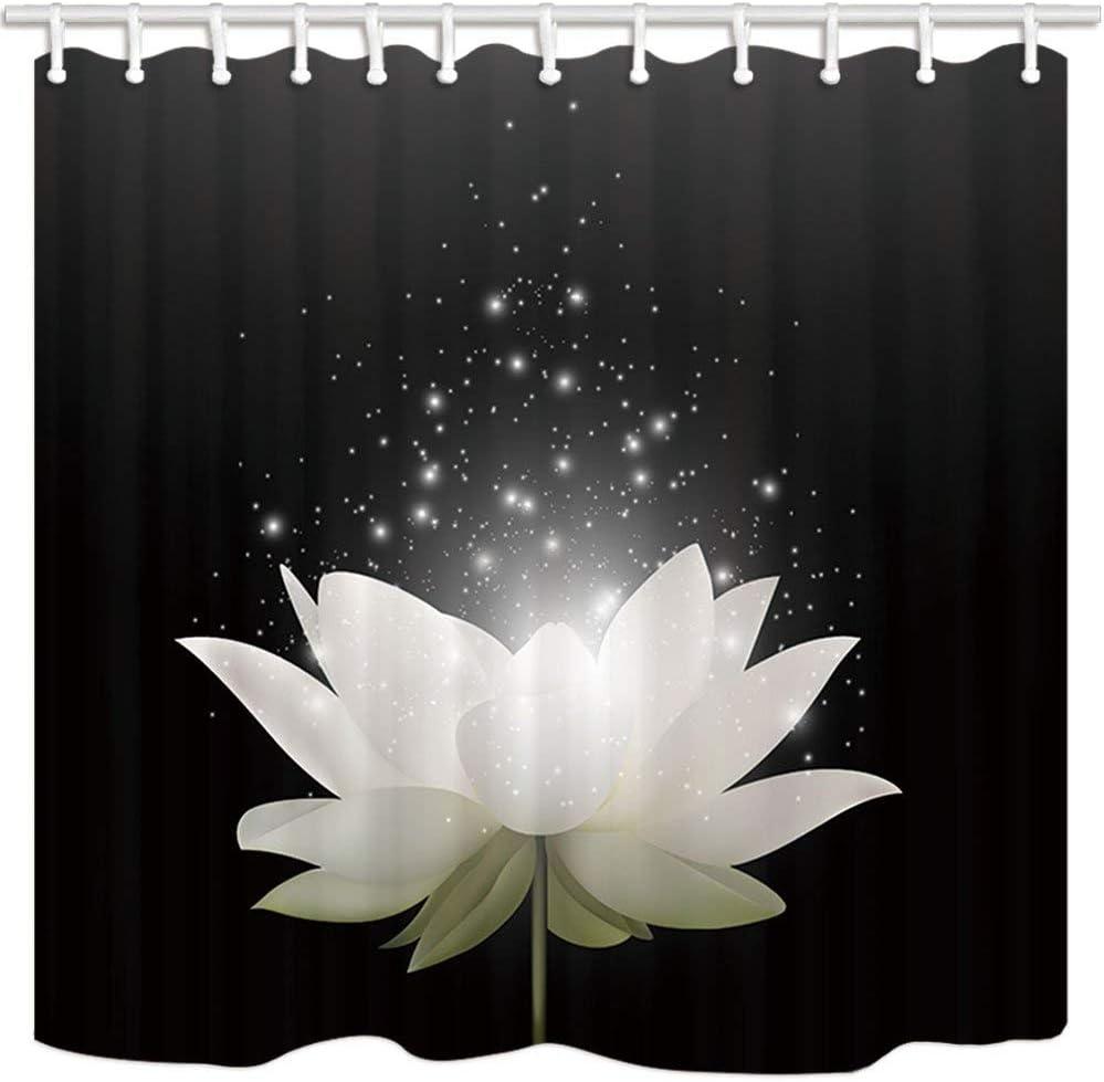 cortinas de ducha resistente al moho ganchos incluidos GoHEBE color negro Cortinas de ba/ño para ba/ño con dise/ño de flor de loto color blanco m/ágico 182,88 x 182,88 cm