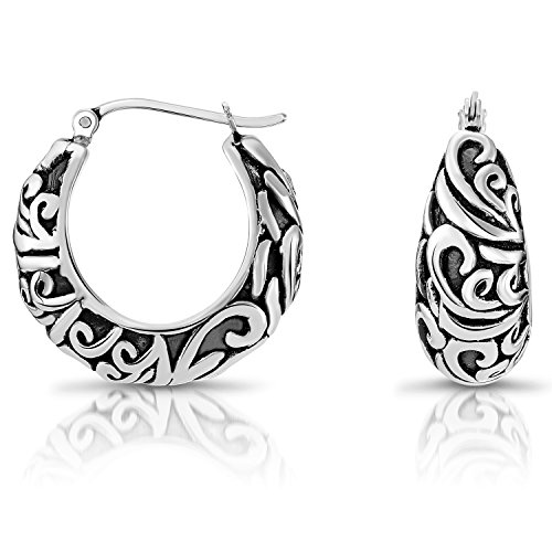 Sterling Silver Bali-inspired Graduated Round Hoop Earrings - 1'' - Sterling Hoop 1' Silver