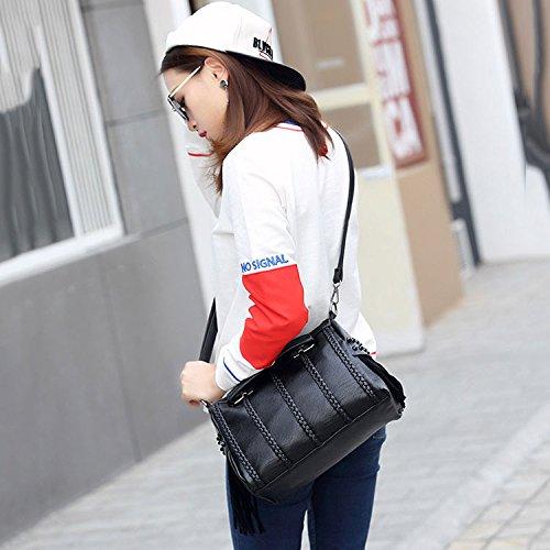 Main à De Bandoulière Sacs Frange Occasionnels Tissés De Mode De Dames à Black Sac Sac Simple à Bandoulière SfwIUqd5xU