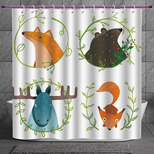 SCOCICI Funky Shower Curtain 2.0 [ Cabin Decor,Wild Forest Animals Set with Laurel Branches Cartoon Style Funny Characters,Multicolor ] Fabric Shower Curtain - Bb Set Rainforest Animals