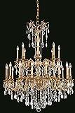 Elegant Lighting 9224G36FG/SA Rosalia Collection Foyer/Hallway Large Hanging Fixture D36'' x H43'' French Gold Finish (Swarvoski Spectra Crystals)