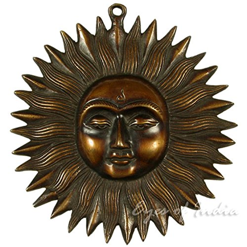 EYES OF INDIA - 6  INDIA SUN BRASS WALL HANGING DECOR SCULPTURE Ethnic Indian Vintage Decor Art