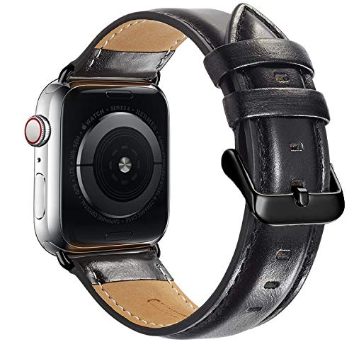 Compatible Apple Watch Band 44mm 42mm, MAPUCE Classic Style Genuine Leather Bands with Stainless Metal Buckle Replacement Strap Compatible iWatch Series 4&3&2&1 Edition with Black Adapter, Black