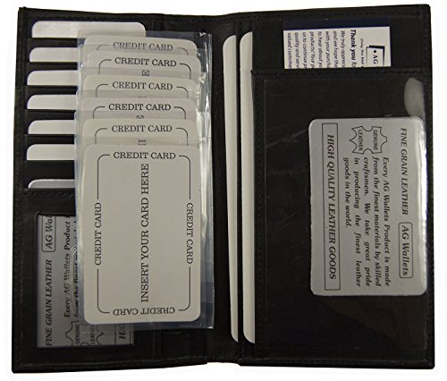 Wallet Black Genuine Leather Checkbook Cover Organizer with Credit Cards Holder