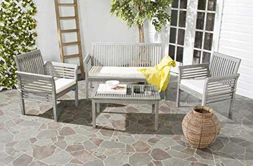Safavieh 4-Piece Outdoor Collection Carson Patio Set, Grey Wash and Beige (Furniture Patio Depot Door Home Out)