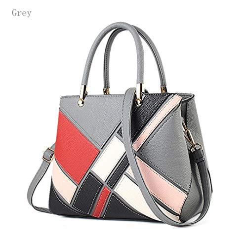 Fashion Fashion Patchwork Soft Handbag New Lady Leather Grey Pu Lady OaBdcxqw