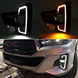 (US) CNAutoLicht 2x LED Daytime Running Light DRL Fog Lamp For Toyota Hilux Revo Rocco With Amber Turn Signal Lamp 2018 2019