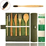 Bamboo Utensils Cutlery Set BEWBOW - Reusable Cutlery Travel Set - Eco-Friendly Wooden Silverware for Kids & Adults - Outdoor Portable Utensils with Case - Bamboo Spoon, Fork, Knife, Brush, Chopsticks