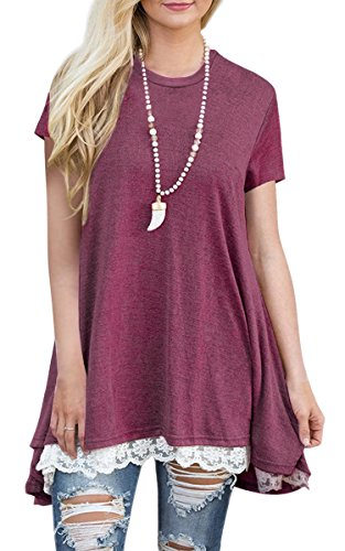 Angashion Women's-Tops-Casual Short Sleeve Lace Trim A Line Tunic T Shirt Blouse (Tunic Crochet Top)